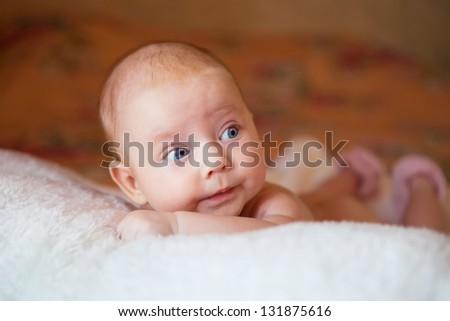 Cute adorable baby girl smiling - stock photo
