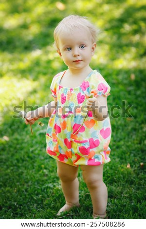Cute adorable blond baby toddler standing on a meadow green grass during summer day holding flower dandelion - stock photo