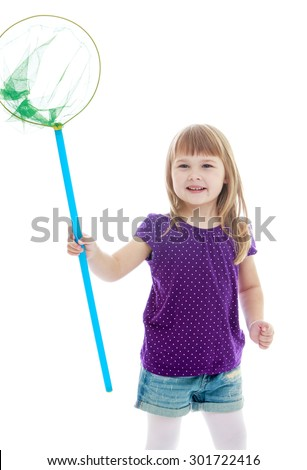 Cute adorable Caucasian little girl in shorts and blue t-shirts with short sleeves holding a butterfly net for catching butterflies. Girl resting with his brother at his grandmother. -Isolated on