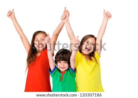 cute adorable children having fun together with bright colorful t-shirts isolated on white background - stock photo