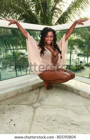 Cute African American at a tropical setting - stock photo