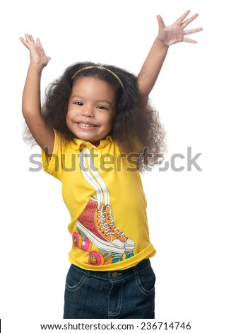 Cute african american small girl raising her arms above her head and laughing isolated on white - stock photo