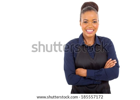 cute african american waitress with arms crossed isolated on white background - stock photo