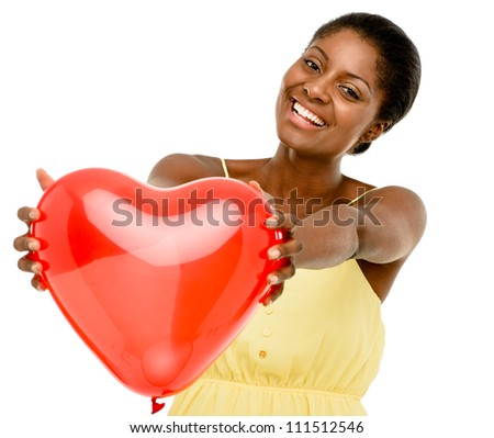 Cute african american woman holding red balloon heart isolated on white background - stock photo
