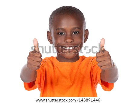 Cute african boy wearing a bright orange t-shirt. The boy is showing a thumbs up to the camera. - stock photo