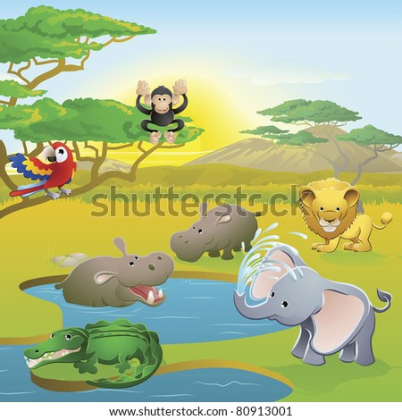 Cute African safari animal cartoon characters scene. Series of three illustrations that can be used separately or side by side to form panoramic landscape. - stock photo