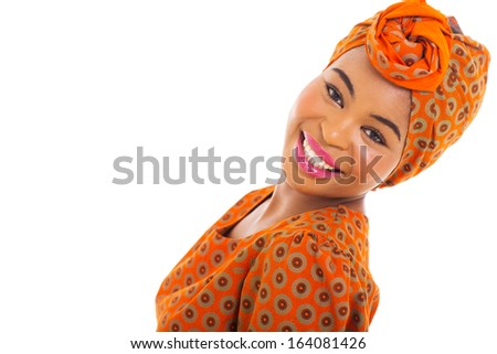 cute african woman posing on white background - stock photo