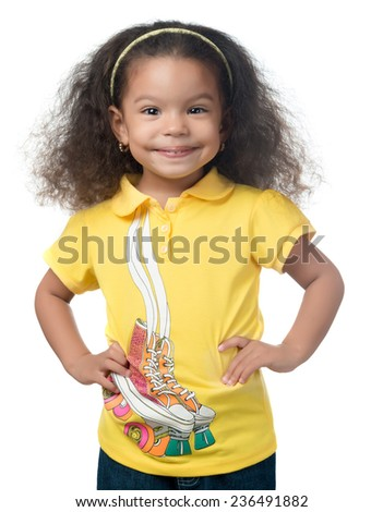 Cute afroamerican small girl smiling isolated on white - stock photo