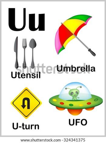 cute colorful alphabet letter u set stock illustration 324341375