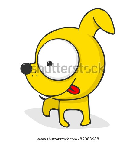 Cute and funny cartoon dog with huge eyes. Vector version also available.