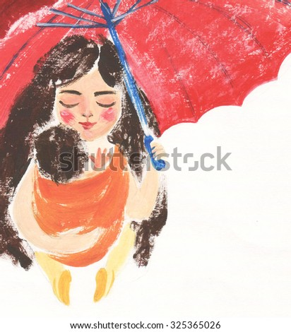 Cute and gentle illustration of mom and her baby in orange sling under red umbrella - stock photo