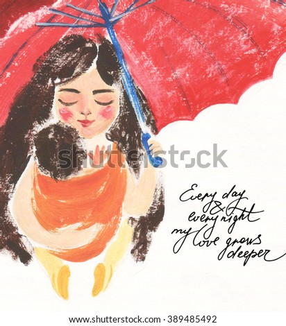 Cute and gentle illustration of mom and her baby in orange sling under red umbrella with lettering - stock photo