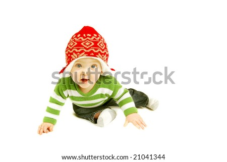 cute and happy baby boy - stock photo