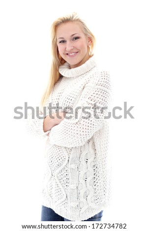 Cute and happy woman with sweater have wide smile