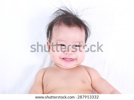 Cute and healthy Asian baby with white background