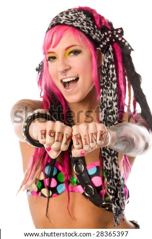 Cute and retro go go dancer with pink hair and lots of tattoos