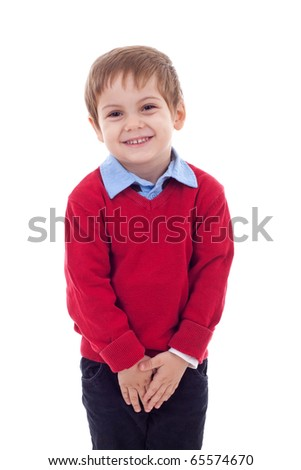 Cute and shy little boy isolated on white background - stock photo