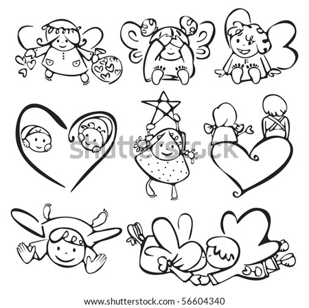 Cute angels for your design. - stock photo