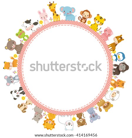 cute animals and message space - stock photo