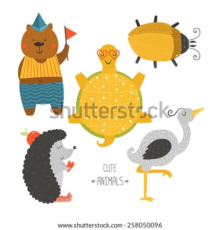Cute animals collection, baby animals. Bear, beetle, tortoise, hedgehog and heron isolated on white background. Cartoon animals set - stock photo