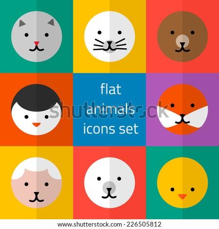 cute animals icons round set - stock photo