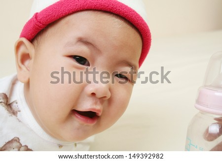Cute asian baby (five months - stock photo