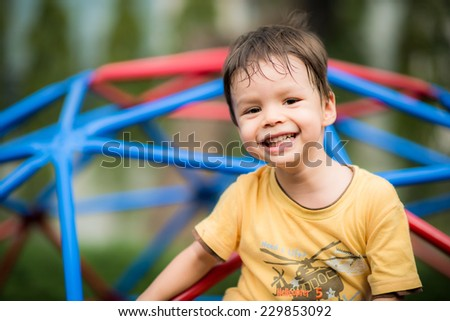 Cute Asian Caucasian mixed race toddler happily playing on monkey bars in a playground outside in the summer sun - stock photo