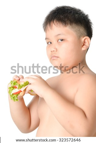 cute asian fat boy bored eating sandwich isolated on white - stock photo
