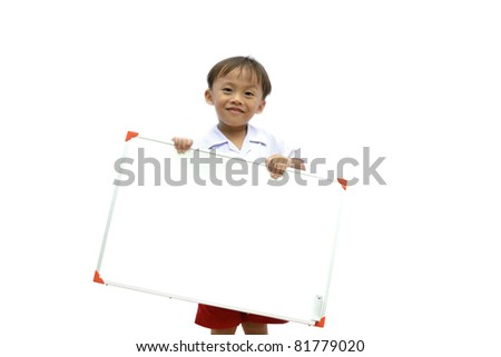 cute asian young boy holding blank white sign on white background.