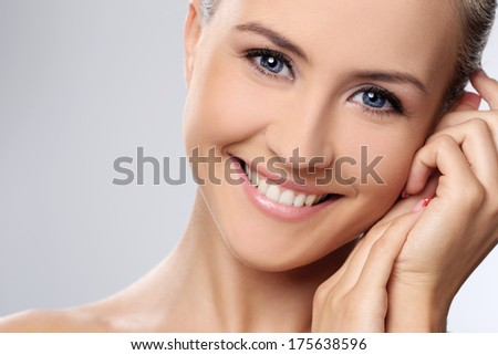 Cute, attractive woman with gorgeous face - stock photo