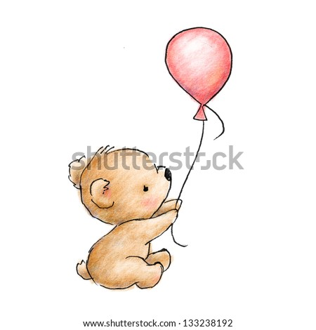 cute baby bear with pink balloon on white background