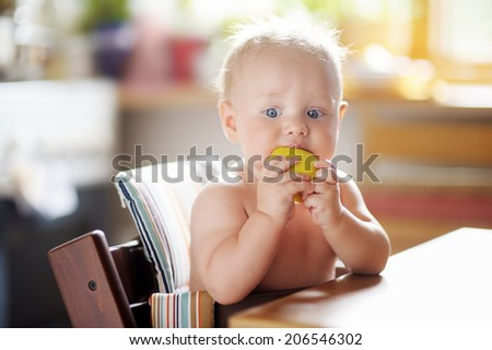 Cute baby boy eating healthy food (apple) - stock photo