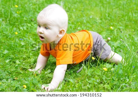 Cute baby boy in orange t-shirt crawling in the grass  - stock photo