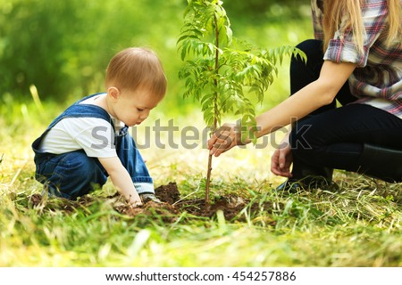 Cute baby boy planting tree with parent in garden - stock photo