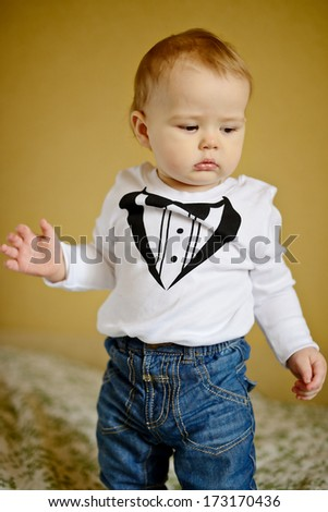 cute baby boy (soft selective focus) - stock photo