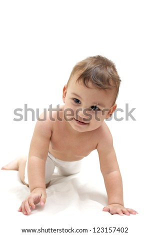 Cute baby crawl on a towel - stock photo