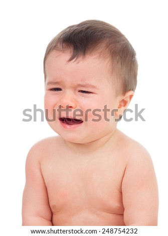 Cute baby crying isolated on a white background - stock photo