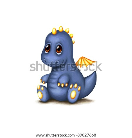 cute baby dragon on white background - stock photo