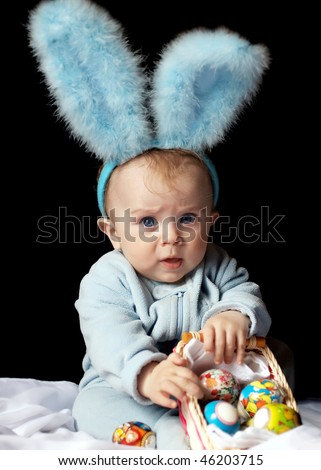 cute baby dressed as a bunny