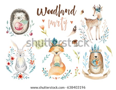 Cute baby fox, deer animal nursery rabbit and bear isolated illustration for children. Watercolor boho forestdrawing, watercolour, hedgehog image Perfect for nursery posters, patterns
