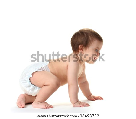 Cute baby girl crawling isolated on white - stock photo
