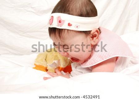 cute baby girl crying - stock photo