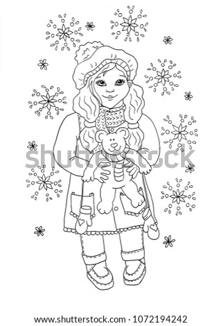 Cute Baby Girl Holding Teddy Bear In Winter Dress, Coloring Book Page For  Children