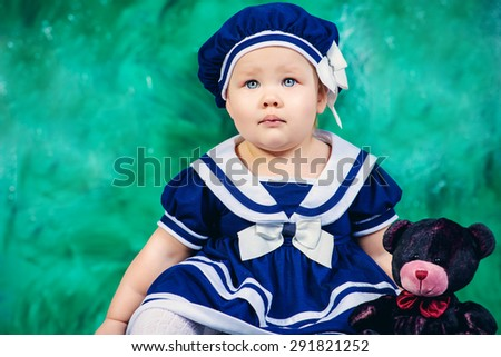 Cute baby girl in beautiful dress. Newborn. Happy childhood. - stock photo
