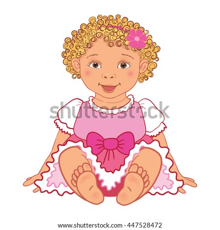 Cute baby girl in pink dress Happy princes  Illustration isolated - stock photo