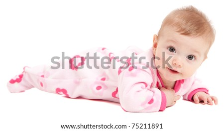 Cute baby girl in pink isolated on white