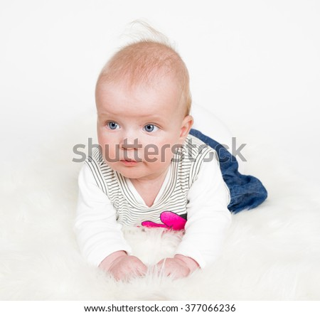 Cute baby girl isolated - stock photo