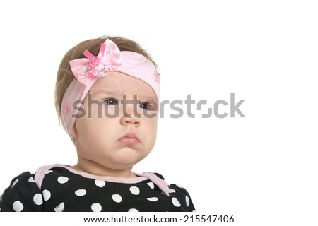 Cute baby girl on a white background
