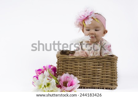 cute baby girl with flowers in a basket - stock photo