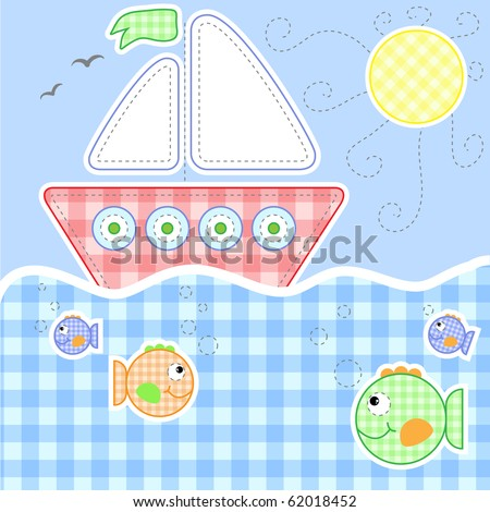 Cute baby greeting card - Stitching series, Vector version also available - stock photo